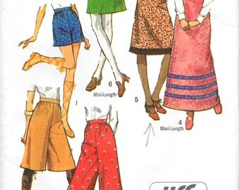 """SIMPLICITY 9516 UNCUT Size 14 W- 27"""", Jiffy Skirts and Pants and various lengths 1970's Retro Pattern"""