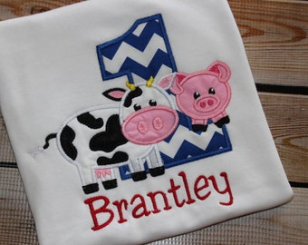 Personalized Farm Birthday Shirt with Number and Cow and Pig