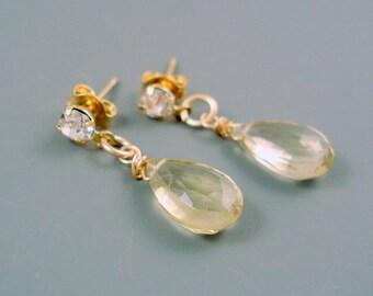 Champange Quartz Earrings with 11MM Teardrop Briolette and Rhinestone Stud Post ON SALE were 39.00