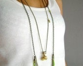 Boho necklaces set - multi layered necklace - two necklaces - multi strand necklace - beige and chartreuse necklaces
