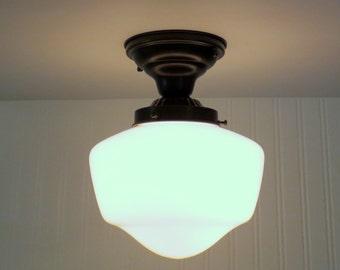 Machias. CEILING LIGHT Fixture Replica Schoolhouse - Farmhouse Flush Mount Chandelier Lighting Milk Glass Traditional Kitchen Bathroom Lamp