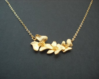 Three fold flowers cascading necklace - matte 16K gold plated