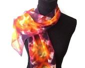 Silk Scarf Yellow Orange Tie Dye 8x54in * 20.32x137.16cm