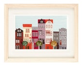 BROOKLYN, NEW YORK - Large Colorful Illustration Art Print 11 x 17