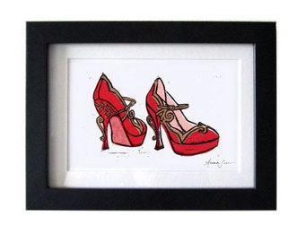 Miu Miu Teacup Mary Jane Pumps Red Linocut Hand-Pulled Art Print: 5 x 7