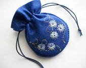 Blue Gift Bag Felt Compact Pouch with Hand Embroidered Flowers and Swirls Handsewn