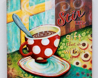 Stir It Up Coffee Giclee Wrapped Canvas Art Print Wall Decor- 18x18 - Christian Art