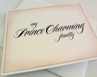 Prince Charming Wedding Card For Husband, Card for Groom, Newlywed Card, Fairy Tale Card, Vintage Inspired