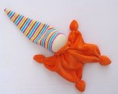 Teething waldorf doll orange and striped hat -  toy for baby. eco friendly gifts for kids-