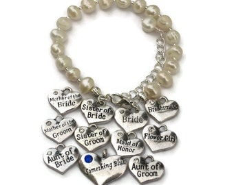Wedding Party Charm Bracelet, Gifts for Bride Maid of Honor Bridesmaids Flower Girl Mother Sister Aunt of Bride Mother Sister Aunt of Groom