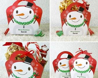 Kawaii Christmas Joy Snowman Treat Basket Giftbag Editable Printable PDF