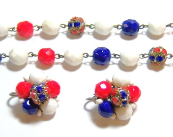 classic white, blue and red beaded necklace and clip on earrings set, jewelry set, necklace and earring set