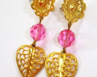 vintage gold tone with pink faceted bead dangle pierced earrings 714E#