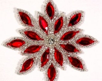 "XR32  Red Jewel Snowflake Silver Beaded Applique 3""  Sewing and Crafts Motif (XR32-rdsl)"