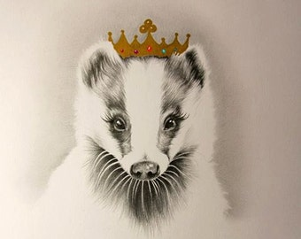 Badger Queen Limited Edition Pencil Drawing Nursery Children's Illustration Print Hand Signed