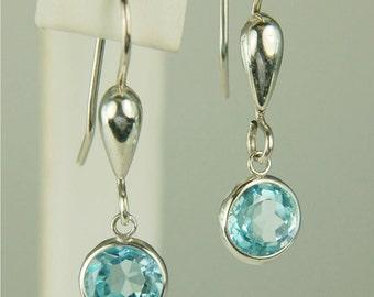 Sky Blue Topaz Dangle Earrings Sterling Silver 8mm Round 4.30ctw Backset Drop