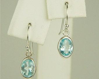 Sky Blue Topaz Dangle Earrings Sterling Silver 7x5mm Ovals 1.80ctw in Backset Drop