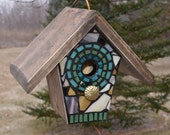 STAINED GLASS Mosaic Birdhouse in Brown and Teal, will make to order