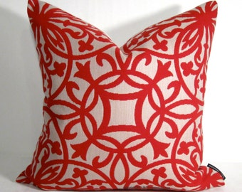 Sale, Red Geometric Pillow Cover, Modern Outdoor Pillow Cover, Decorative Pillow Case, Crimson Trellis Pillow Cover, Sunbrella Cushion Cover
