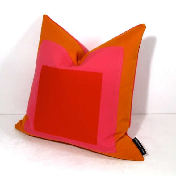 Items similar to Modern Outdoor Pillow Cover, Hot Pink Red & Orange, Decorative Throw Pillow ...