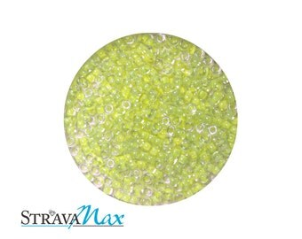 15/0 Luminous Chartreuse Miyuki Round Seed Beads - sold in 50 gram bags - color lined rocailles - approx 12500 beads 1.5mm diameter