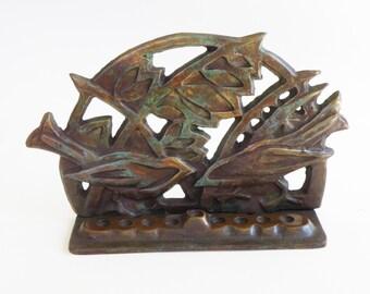 New design by Shaul Baz, chanukah menorah with special patina, birds design. hanukkah menorah hanuka menora chanukia
