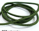 Wrapped silk cord, satin cord, olive green, 2 meters