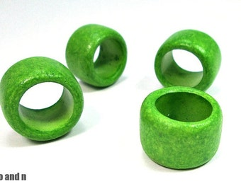 X-large tube beads, green greek ceramic beads, 2 beads