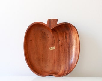 Vintage Apple Shape Wood Bowl - Medium Size Storage Tray