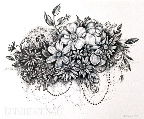 Dotwork Flower Cloud Pen And Ink Stippling Drawing