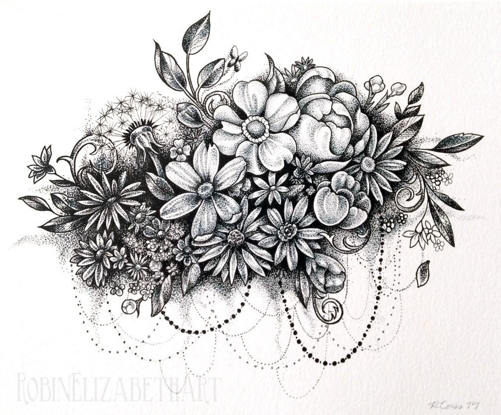 Dotwork flower cloud pen and ink stippling drawing - Dessin tatouage fleur ...