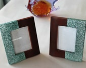 "Wood Picture Frame, Hand Glittered in Mint Green, 3.4"" x 4.0"", Set of Two. Handmade."