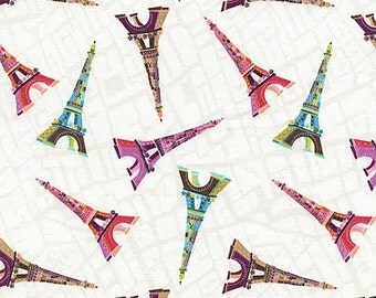You Me Oui Fabric Paris by Timeless Treasures Tossed Multicolored Patterned Eiffel Towers on White