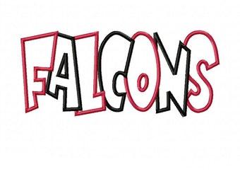 Falcons 2 Color Embroidery Machine Applique Design 4261