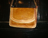 Distressed camel satchel bag with detailed scalloped stitching