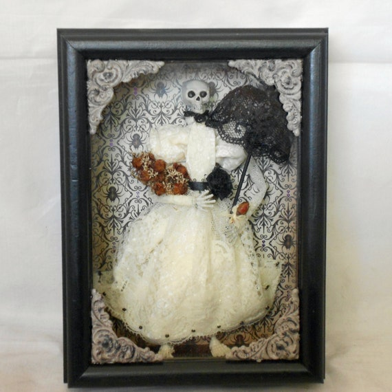 Gothic home decor victorian skeleton shadow box Gothic home decor