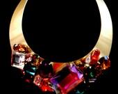 70s Imposing Italian Choker Necklace - PlatinumTone & triumph of crystals and colors - rare choker haute couture - Art.247/3--