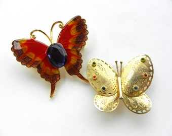 Enchanting antique Butterfly Brooch - Two antique Brooches 1950 - collection butterfly brooches Vintage Italian Quality --Art.337/3--