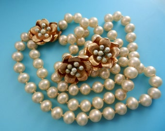 2-strand cascade pearl necklace and earrings set-MARVELLA 1950-fantastic golden flowers and beautiful pearls-very good quality--Art.448/3 -