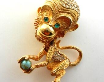 Very Rare Vintage  Large 3D PAULINE RADER figural  Rhinestones Chimp Monkey Brooch Pin -art.438/3-