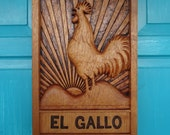 ROOSTER Wood Carving in Cedar Wood, EL GALLO Rooster Wall Sculpture by Susana Caban