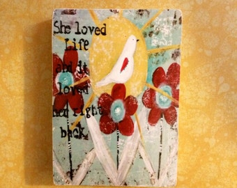 bird print, she loved life ,  ACEO  Reproduction Mounted On Wood Block by Sunshine Girl Designs (2.5 x 3.5 Inches Print)