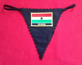 Womens GHANA G-String Thong  Soccer World Cup Lingerie  Country Panty  Flag Underwear