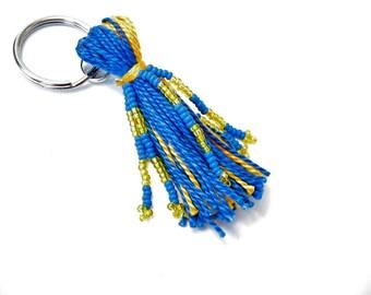 School Colors Keychain: A Custom Beaded Tassel