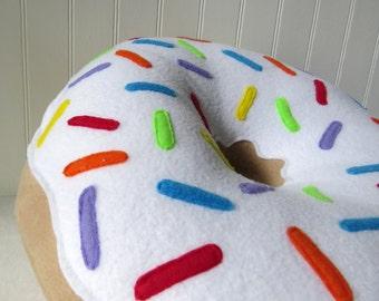 "16"" Rainbow Sprinkled Doughnut Plush"