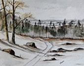 """Original Watercolor Painting- """"A Maine Landscape"""""""