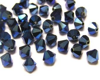 30 pcs METALLIC BLUE 2X Swarovski Crystal 5301 6mm Bicone Beads Wholesale Destash