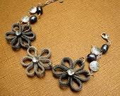 Flower Bracelet Crystal Bracelet Pearl Bracelet Metal Bracelet