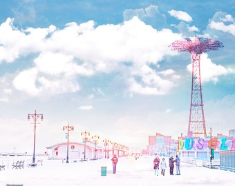 Oversized Art, Large Wall Art, Coney Island Boardwalk, Nursery Decor, Beach Landscape, Boardwalk Photography - Parachute Jump