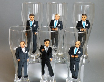 SALE Hand painted bachelor party Personalized  Beer glasses Customized Suits Gift - Personalized Caricatures Handpainted to their Likeness